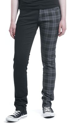 Rock Rebel by EMP Tartan Skarlett (Slim Fit) Girl-Hose schwarz/grau: Amazon.de: Bekleidung