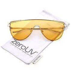67c17fd4b6 Futuristic Rimless Metal Crossbar Colored Mono Lens Shield Sunglasses 62mm  - Silver   Orange - C412NAEB7KV