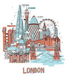"""London Landmarks"" by James Gulliver Hancock"