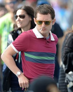 I love this look on Elijah Wood, but the heather gray undershirt kinda butchers it all.