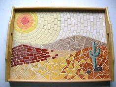 Mosaic desert tray