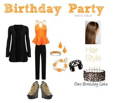 Birthday Party Made for Wattpad Comp. The Swirly Heart means that this outfit is a pre-made. Character Outfits, Lanvin, Polyvore Fashion, Birthday Parties, Style Inspiration, Behr, Kendra Scott, Hair Styles, Boohoo