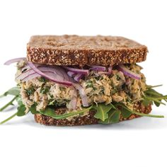 Peppery arugula and zesty red onion are an ideal garnish for this flavorful, light, lemon-pepper tuna salad. #tuna #recipe