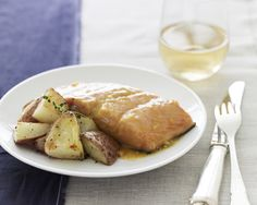 Honey Mustard Baked Salmon with Thyme Roasted Potatoes