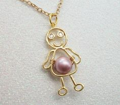 Mommy's Little Girl Pendant On A Gold Chain  by Kikiburrabeads, $15.00