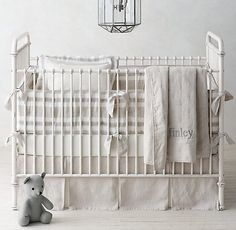 Washed Organic Linen Stripe & Washed Organic Linen Nursery Bedding Collection $20 - $189