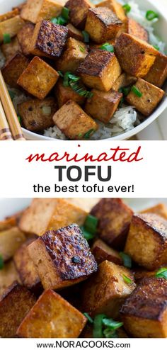 This marinated tofu is hands down the best tofu I've ever tasted! It's super flavorful, simple to make, and very versatile. I like to serve it on a bed of rice with stir fried vegetables, or even sliced in sandwiches. Perfect addition to salads, too! #vegan #plantbased #tofu #tofurecipes