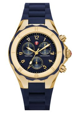 Free shipping and returns on MICHELE 'Tahitian Jelly Bean' Gold Watch, 40mm at Nordstrom.com. Gold distinguishes the gorgeous tonal case of a sporty chronograph watch topped by a notched logo bezel and finished with a cool silicone strap.