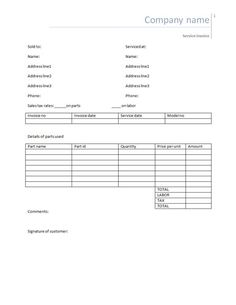 Blank Invoice Statement Form  Free Invoice Template From Fast