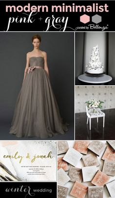 Modern Minimalist Winter Wedding with Pink and Neutral Shades of Gray // Curated Ideas by Bellenza.