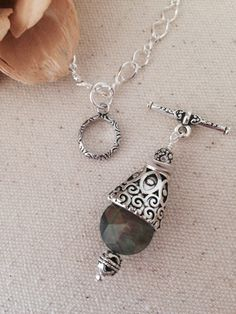Mother of Pearl Antique Pewter Pendant Necklace