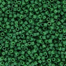 Size 11 Opaque Green Delica Beads - DB0656