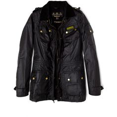 Barbour Black Speedway Waxed Jacket ($370) ❤ liked on Polyvore featuring outerwear, jackets, fleece lined jacket, zipper jacket, quilted jacket, drawstring jacket и flap jacket