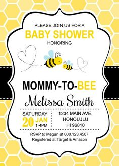 Bumble Bee Baby Shower Invitations Honey Bee Baby Shower Invitations Mommy to Bee Custom Printable Invitation - Babydusche Free Printable Birthday Invitations, Baby Shower Printables, Baby Shower Themes, Baby Shower Decorations, Shower Ideas, Bumble Bee Invitations, Free Baby Shower Invitations, Party Printables, Mommy To Bee