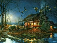 Moonlight Retreat by Terry Redlin Wildlife Paintings, Wildlife Art, Norman Rockwell, Pictures To Paint, Nature Pictures, Art Canard, Beautiful Artwork, Beautiful Pictures, Terry Redlin