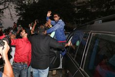 Ranveer Singh was clicked outside a club where he was seen greeting his fans. He sported a red t-shirt with a blue jacket and blue shots. Known for his huge collection of shades, these funky shades are really hard to miss. He will be next seen in Zoya Akhtar's Gully Boy with Alia Bhatt.