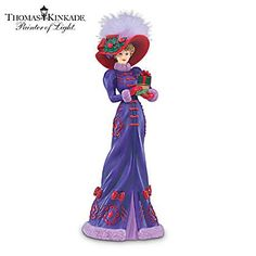 """Holiday Gathering"" Figurine by Thomas Thomas Kinkade Art, Kinkade Paintings, Red Hat Ladies, Red Hat Society, My Fair Lady, Victorian Women, Vintage Paper Dolls, Glamour, Red Hats"