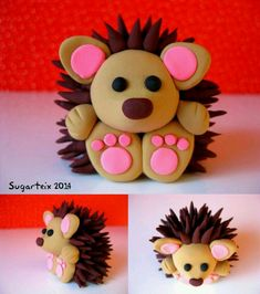 Sweet little hedgehog, clay or fondant - Hobbies paining body for kids and adult Polymer Clay Kunst, Polymer Clay Figures, Polymer Clay Animals, Cute Polymer Clay, Cute Clay, Fimo Clay, Polymer Clay Projects, Polymer Clay Creations, Fondant Figures