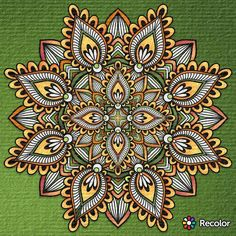 #mandala #spiritual #meditation #green #orange #recolor #coloring