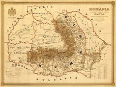 Old map of Romania Harta veche Romania Fine by AncientShades Historical Maps, Historical Pictures, Carti Online, History Of Romania, Romania Map, Asian History, British History, Decorative Borders, Old Maps