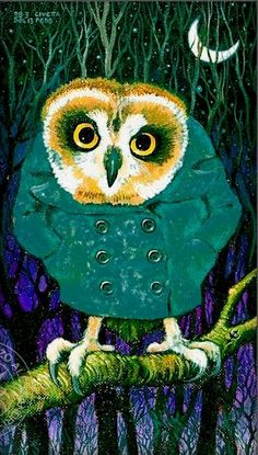 owl in green coat by Lorenzo Alessandri (1988)
