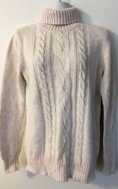 Sonoma Ivory Beige Marled Turtleneck Cable Knit Sweater size S Chunky Cotton #Sonoma #TurtleneckMock