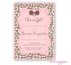 Leopard print with bow girl baby shower invitation shower leopard print with bow girl baby shower invitation shower invitations leopards and babies filmwisefo