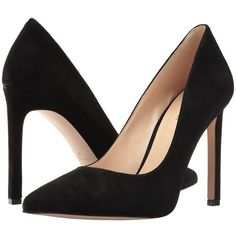 Nine West Tatiana15 (Black Suede) Women's Shoes ($89) ❤ liked on Polyvore featuring shoes, pumps, black pointed toe pumps, pointed toe pumps, black platform pumps, high heel shoes and nine west pumps