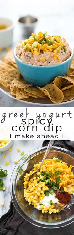 Greek Yogurt Spicy Corn Dip is a simple and quick, make-ahead appetizer! Creamy greek yogurt mixed with crisp corn, cheddar cheese and a bit of spice. Healthy Superbowl Snacks, Healthy Dips, Healthy Appetizers, Easy Snacks, Appetizer Recipes, Healthy Eating, Healthy Recipes, Party Appetizers, Dip Recipes