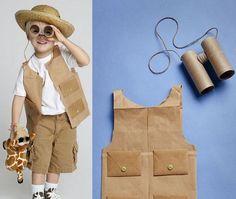 Safari Explorer vest and binoculars. Jungle Party, Safari Party, Safari Theme, Jungle Theme, Safari Costume, Themed Halloween Costumes, Diy Costumes, Animal Crafts For Kids, Diy For Kids