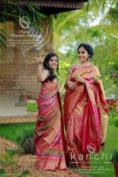 Kanchi Bridal saree collection To place an order- FB… South Indian Sarees, South Indian Bride, Kerala Saree, Fancy Sarees, Silk Sarees, Saris, Kanjivaram Sarees, Indian Dresses, Indian Outfits