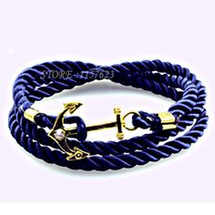 2017 fashion jewelry europe new trendy Navy style DIY braid rope anchor bracelet auger  anchor bracelet - Antique Bronze Plated