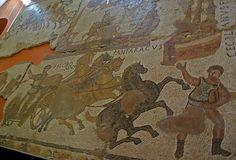 Mosaic del circ, Museu d'Història de la Ciutat, Girona    Circus mosaic, Museu d'Història de la Ciutat de Girona.