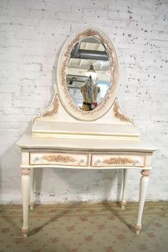 Painted Cottage Chic Shabby Romantic French Vanity and Mirror [pinkannie] - $795.00 : The Painted Cottage, Vintage Painted Furniture