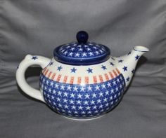 Boleslawiec Hand Made Polish Red White and Blue Patriotic Pottery Teapot