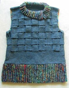 Blue vest made of woven knitted strips (like webbing - what is this called?) with vertical ribbed stirpes in varigated yarn at collar and wide bottome border