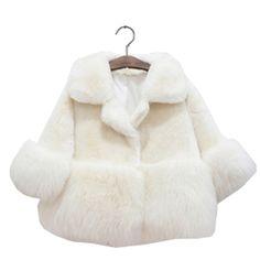 2-10TGirls Winter Coat 2017 Winter Girls Fur White Coats Baby Girls Clothing Kids Girls Fur Coat Thicken Wool Winter Coat
