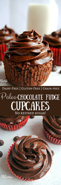 Grain-free never tasted better! My easy and super moist Paleo chocolate fudge cupcakes will satisfy your chocolate cake cravings. Made with simple and healthy ingredients. Gluten-free, dairy-free, grain-free and no refined sugar. Yes, even the glorious chocolate fudge frosting! Paleo, grain-free, gluten-free, chocolate cupcakes. Recipe from www.mamaknowsglutenfree.com #paleorecipe #grainfree #glutenfree #chocolatecupcakes