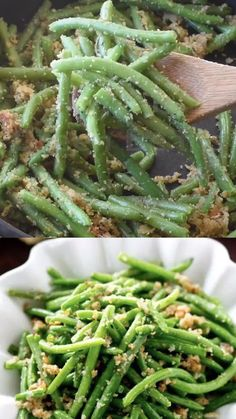 Italian Green Beans The simplest, most delicious side dish recipe and the best way to eat green beans! These Italian Green Beans are sauteed in butter, bread crumbs and Parmesan cheese. Vegetable Sides, Vegetable Side Dishes, Canned Green Bean Recipes, Parmesan Green Beans, Steak And Green Beans, Green Beens, Grilled Green Beans, Stir Fry Green Beans, Side Dishes