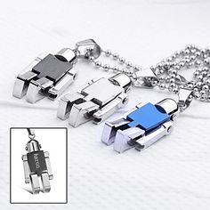 Personlig gåva smycken Robot Shaped Graverad hängande halsband med 60cm Kedja – SEK Kr. 50
