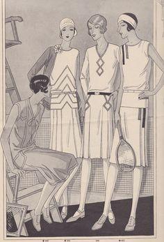 1928 Die Tenniskleider waren oft aus Waschseide, hellem Leinen ober Baumwollköper gefertigt. Darunter wurde ein Schlüpfer aus dem gleichen Stoff gearbeitet, dazu helle Schnürschuhe aus Segeltuch…