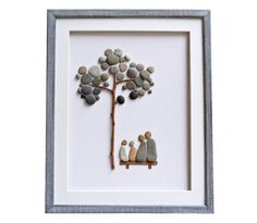 Pebble art family of four gift Mother's Day gift Framed wall art New home housewarming Anniversary or birthday gift Family wall decor Bird Wall Art, Framed Wall Art, 3d Wall, Art Couple, Pebble Art Family, Family Wall Decor, Anniversary Gifts For Wife, Sea Glass Art, Stone Art