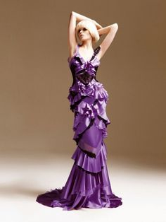 Fashion pictures or video of Abbey Lee Kershaw: Atelier Versace S/S Look Book; Versace Fashion, Versace Dress, Couture Fashion, Versace Versace, Fashion Glamour, Runway Fashion, Atelier Versace, Purple Gowns, Purple Dress