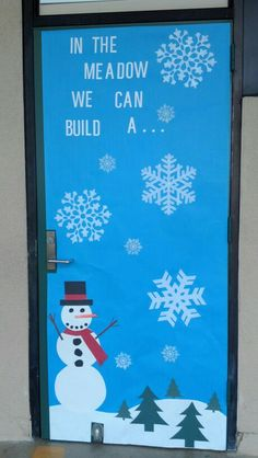 Winter snowman classroom door decoration.