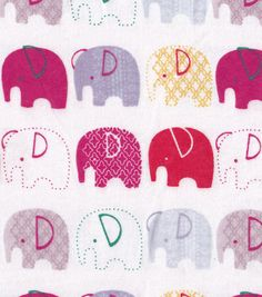 Snuggle Flannel Fabric-Elephants In Line