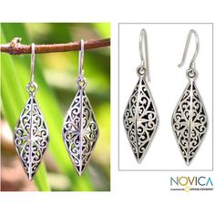 NOVICA Unique Sterling Silver Dangle Earrings ($35) ❤ liked on Polyvore featuring jewelry, earrings, dangle, sterling silver, sterling silver jewelry, long dangle earrings, star jewelry, novica earrings and sterling silver long earrings