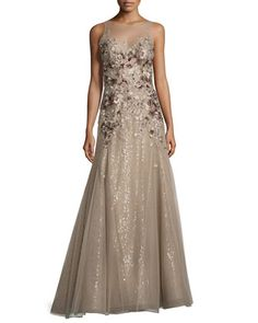 Floral-Embroidered+Illusion+Gown,+Mushroom+by+Liancarlo+at+Neiman+Marcus.