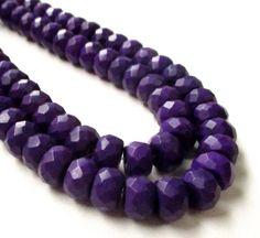 Purple Rondelle Faceted Beads Royal Purple Magnesite by BijiBijoux