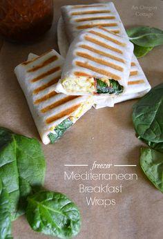 Freezer Mediterranean Breakfast Wraps- a flavorful hot breakfast on-the-go: http://anoregoncottage.com/freezer-mediterranean-breakfast-wraps/