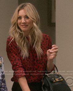 "The Big Bang Theory ""The Tam Turbulence"" Fashion: Season 12 Episode 4 Big Bang Theory Penny, The Big Band Theory, Red And Black Shirt, Green Plaid Shirt, Indie Fashion, Girl Fashion, Fashion Outfits, Red Leopard, Brown Blonde Hair"